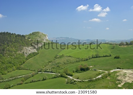 A shot of the countryside near Pesaro, Italy - stock photo