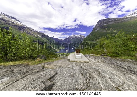 A shot of the famous Geiranger Fjord in Norway