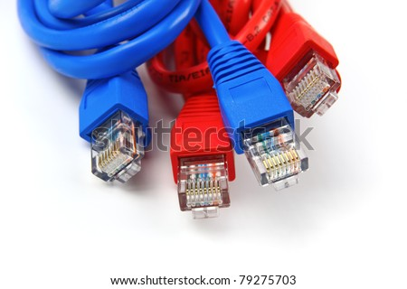 A shot of UTP network cables. Studio shot. Data Network Hardware Concept. RJ45 connectors. - stock photo