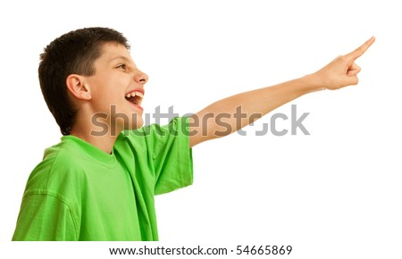 A shouting boy is pointing forward; isolated on the white background - stock photo