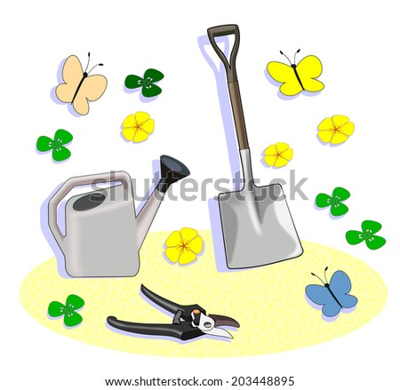 A shovel, a watering can and some gardening shears among flowers and butterflies.  - stock photo