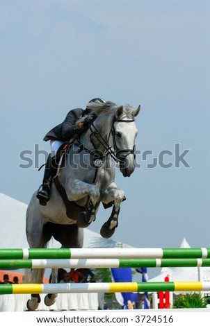 A show jump horse trying to overcome hurdles at Premiercup Equestrian event in Putrajaya, Malaysia. - stock photo
