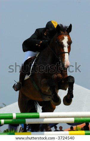 A show jump horse trying to overcome hurdles at Premiercup Equestrian event in Putrajaya, Malaysia - stock photo