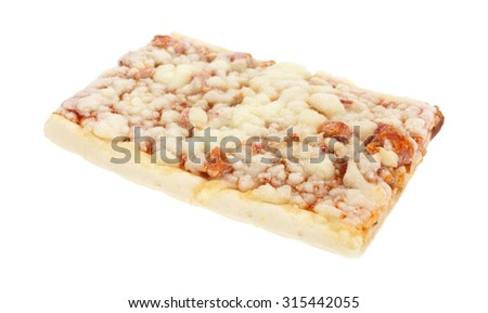 A side angle view of a frozen slice of pepperoni pizza on a white background.  - stock photo