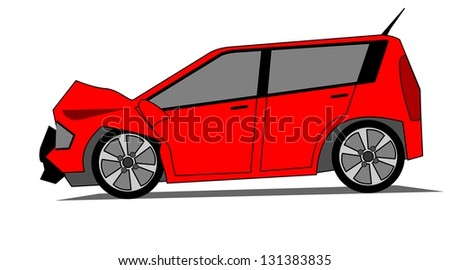 A side illustration of crashed red car - stock photo