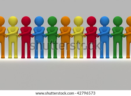 A side-to-side seamlessly tile-able 3D illustration of a row of multi-coloured characters crossing their arms to join hands. - stock photo