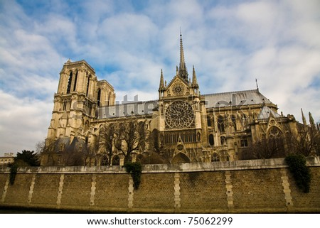 A side view on the main cathedral of Paris, the Notre Dame - stock photo