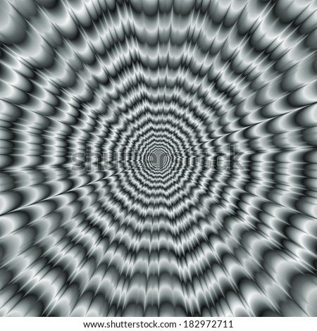 A Sight for Sore Eyes in Monochrome / Digital abstract fractal image with a monochrome explosion design in a faded blue color giving an optical illusion of movement.  - stock photo