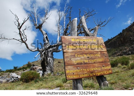 A sign along the trail to Cerro Torre, Patagonia, Argentina - stock photo