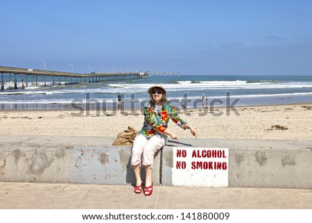 A sign describing rules at the beach in Point Loma california. - stock photo
