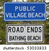 A sign for a Public bathing beach on Lake Michigan's Bay of Green Bay - stock photo