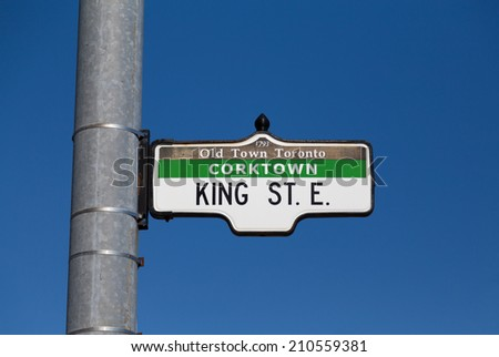 A sign for King Street East in Toronto - stock photo