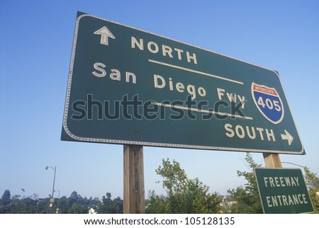 A sign for the 405 San Diego freeway entrance - stock photo