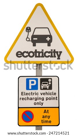 A sign indicating a place to charge an electric or hybrid vehicles - stock photo