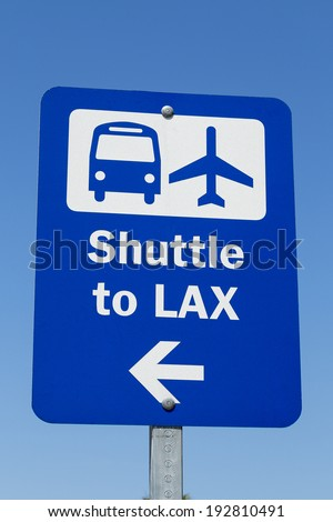 A Sign of Shuttle to LAX - stock photo