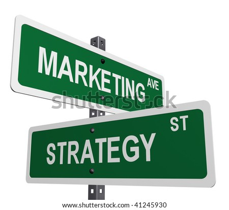 a sign post with marketing and strategy on street like signs - stock photo