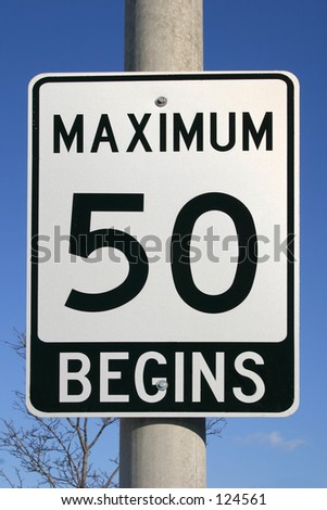 A sign road for a speed limit to fifty