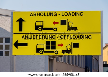 a sign shows the different goals for pickup and delivery of goods by truck to - stock photo
