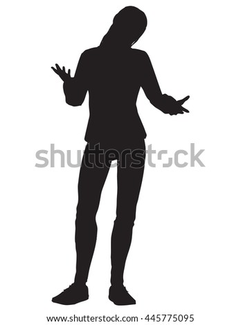 A silhouette illustration of young woman gesturing whatever with her hands and shoulders