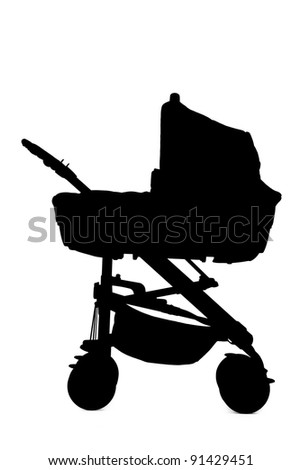 A silhouette of a baby stroller isolated on white background - stock photo