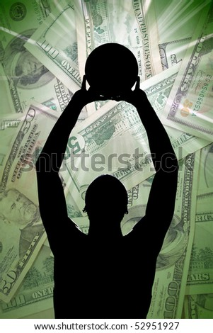 A silhouette of a basketball player holding up a ball in front of a background of American money.
