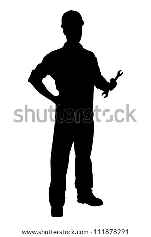 A silhouette of a confident and smiling handyman holding a wrench isolated on white background - stock photo