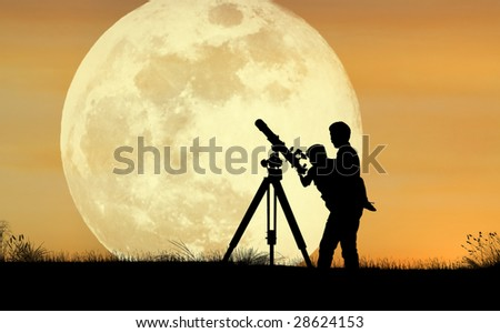A silhouette of a father holding his child up to a telescope with a full moon in the background