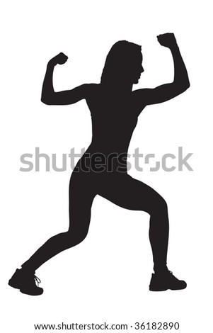 A silhouette of a female athlete isolated on a white background - stock photo