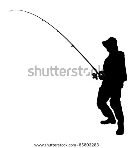 A silhouette of a fisherman holding a fishing pole isolated on white background - stock photo