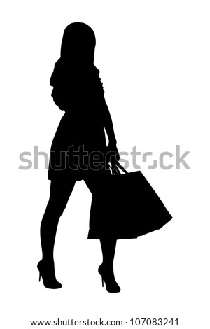A silhouette of a full length portrait of a female posing with shopping bags isolated on white background - stock photo