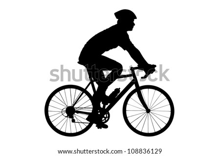 A silhouette of a male biker with helmet biking isolated against white background - stock photo