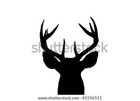 A Silhouette of a Male White Tail Deer head - stock photo