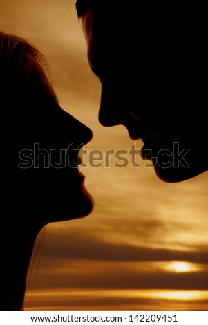 A silhouette of a man and woman's faces close up - stock photo