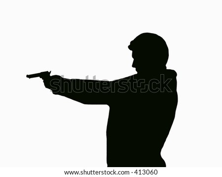 a silhouette of a man target shooting