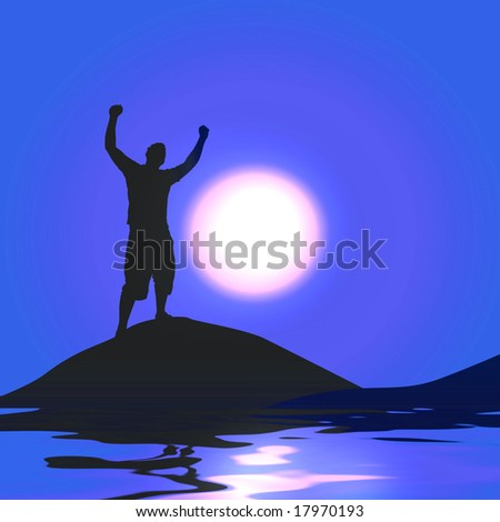 A silhouette of a man with his arms raised up in the air in front of the moon. - stock photo