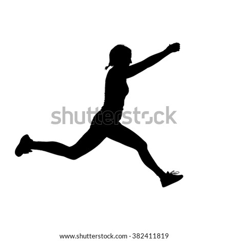 A silhouette of a muscular, athletic female personal trainer demonstrating balancing and jumping poses against a white background.