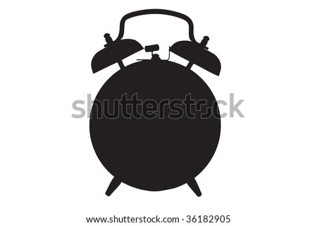 A silhouette of a retro alarm clock against white background - stock photo