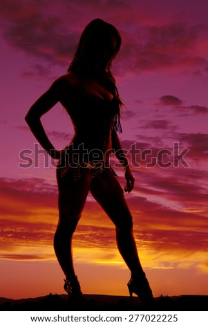A silhouette of a woman in her bikini from the side. - stock photo