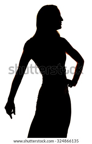 a silhouette of a woman in her dress with a white background.