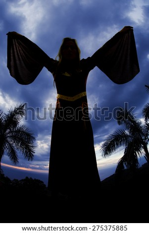 A silhouette of a woman in her medieval dress holding out her arms with a blue sky. - stock photo