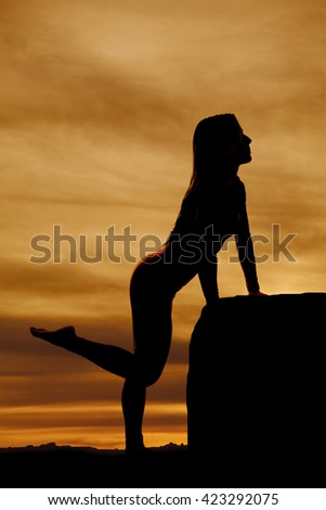 A silhouette of a woman in the outdoors, leaning against a rock. - stock photo