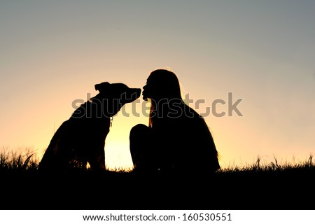 a silhouette of a woman with long blonde hair is sitting outside in the grass, kissing her large German Shepherd Mix dog at sunset - stock photo