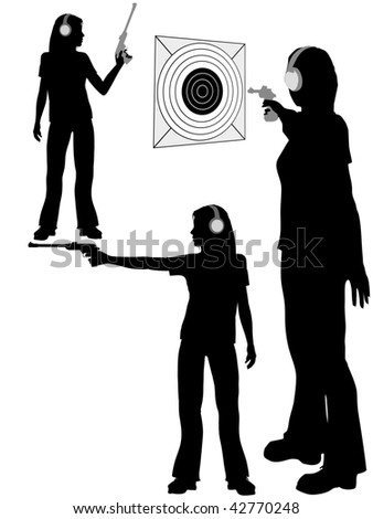 A silhouette woman shoots a target pistol in three poses. - stock photo