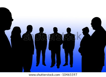 A silhouttee of a group of people resembling a team - stock photo