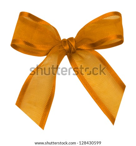 a silk ribbon knot on white background