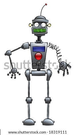 A silly looking cartoon robot. Very helpful around the house. - stock photo