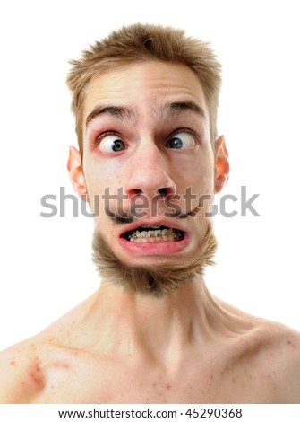 A silly white male isolated on white background with his throat tenses up with his eyes crossed. He has a weird mustache and beard. - stock photo
