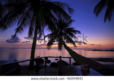 A siluete image of seascape in Thailand - stock photo