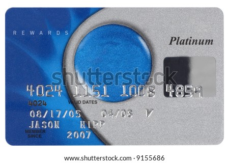 A silver and blue credit card shot straight on. Numbers are fake. - stock photo