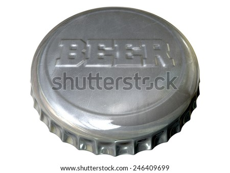 A silver beer bottle cap with the word beer embossed on it on an isolated white studio background - stock photo